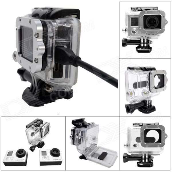 Side Open Protective Case w/ Individual Aluminum Alloy Strap Lens Ring for GoPro Hero 3+/3 - Silver creative gifts 3d pop up card greeting