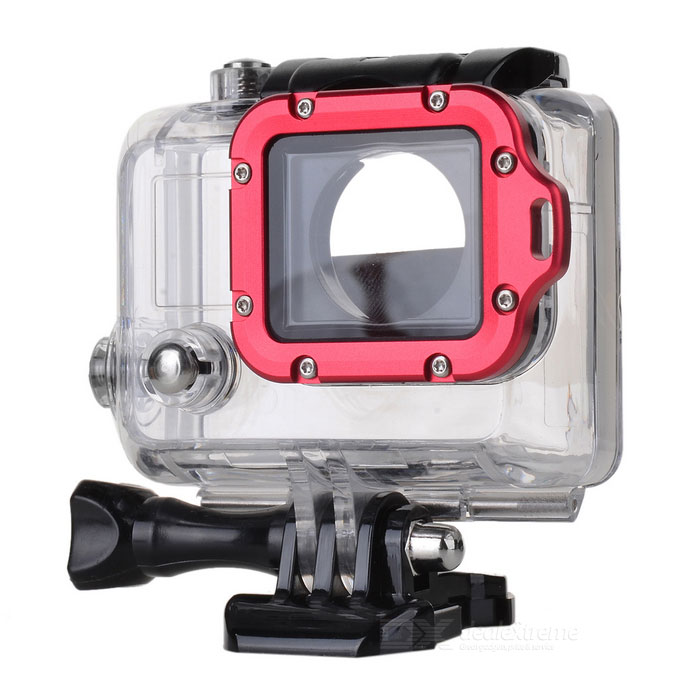 Side Open Protective Case w/ Individual Aluminum Alloy Lens Strap Ring for GoPro Hero 3+ / 3 - Red side open protective case w individual aluminum alloy lens strap ring for gopro hero 3 3 red