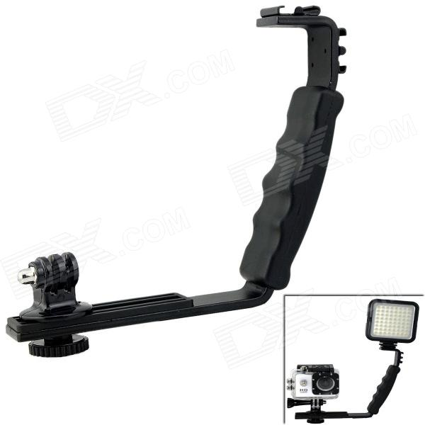 L-Type Dual-Hot-Shoe Handheld Stand Bracket w/ Mount Adapter for DV / Digital Camera / GoPro Hero 4/3/2 new swivel flash hot shoe umbrella holder mount adapter for studio light stand bracket type e