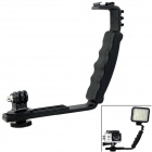 L-Type Dual-Hot-Shoe Handheld Stand Bracket w/ Mount Adapter for DV / Digital Camera / GoPro 1 2 3