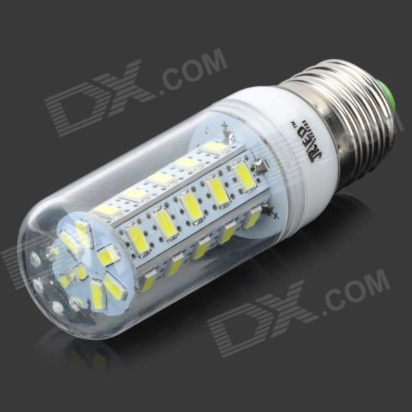 JRLED E27 7W 450lm 36-SMD 5630 LED Cold White Light Bulb w/Silver Ring