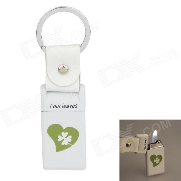 6530 Four Leaves Zinc Alloy Gas Lighter w/ Keyring - White