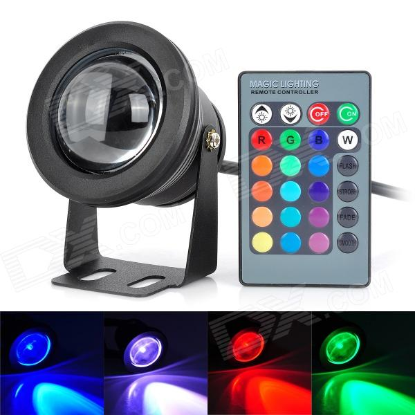 10W RGB Underwater Lamp w/ 24-key Remote Controller - Black