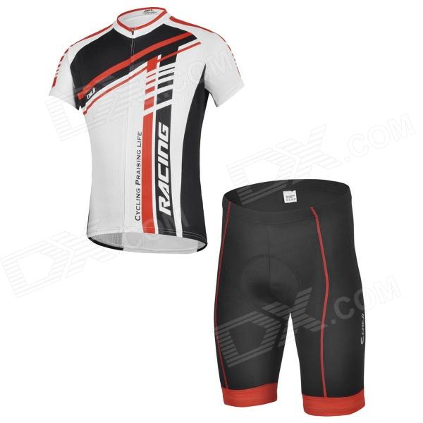 CHEJI GL-01 Outdoor Cycling Polyester Short-Sleeve T-shirt + Shorts for Men - Red + Black (L)