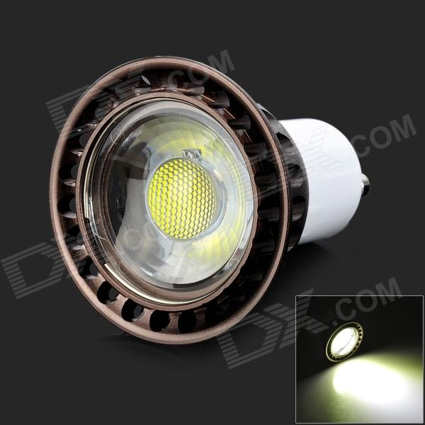 GU10 4W 400lm 6000K COB LED White Spotlight Bulb - White + Brown (85~265V)
