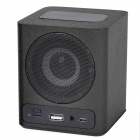 KR-5100 Portable Wooden Touch LED Media Player Speaker w/ TF / USB / FM - Black