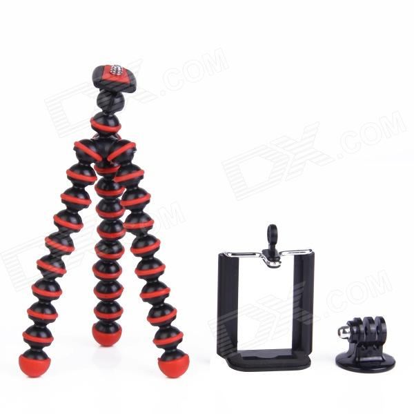 3-in-1 Mini Octopus Tripod for Digital Camera / Phone / GoPro Hero 1 / 2 / 3 / 3+ - Black + Red