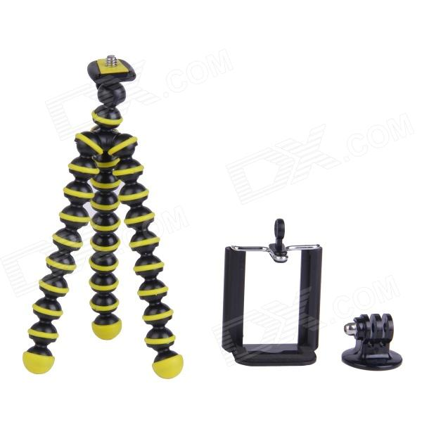 3-in-1 Mini Octopus Tripod for Digital Camera / Phone / GoPro Hero 1 / 2 / 3 / 3+ - Black + Yellow three dimensional adjustable helmet side mount for gopro hero 3 3 2 1 black
