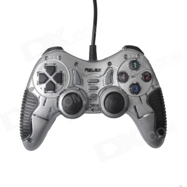 Relax R-VS21 Dual-shock USB Vibration Gamepad Game Controller for PC Games - Gray + Black (150cm)