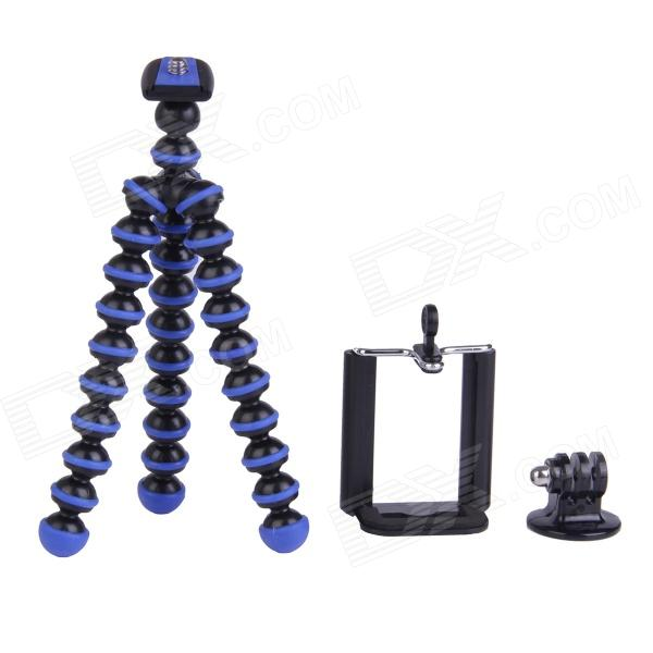 3-in-1 Mini Octopus Tripod for Digital Camera / Phone / GoPro Hero 1 / 2 / 3 / 3+ - Black + Blue three dimensional adjustable helmet side mount for gopro hero 3 3 2 1 black