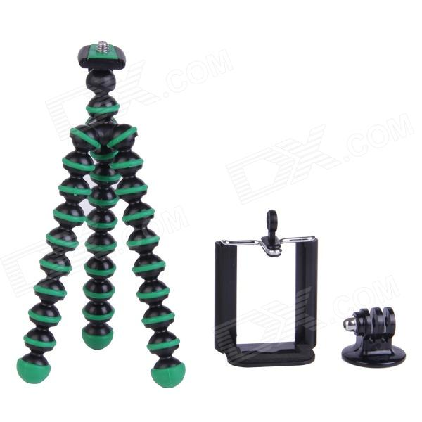 3-in-1 Mini Octopus Tripod for Digital Camera / Phone / GoPro Hero 1 / 2 / 3 / 3+ - Black + Green three dimensional adjustable helmet side mount for gopro hero 3 3 2 1 black