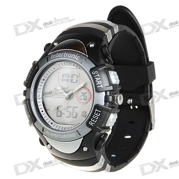 Blue Light Digital Sports Watch with Weekday Display/Alarm Clock (Black + Grey)