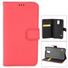 Cross Pattern Protective PU Leather Case w/ Card Slot for Samsung Galaxy S5 - Red