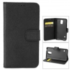 Cross Pattern Protective PU Leather Case w/ Stand for Samsung Galaxy S5 - Black