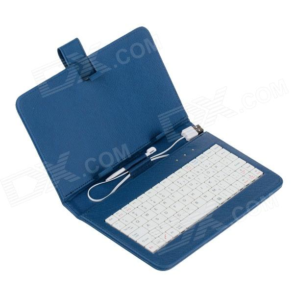 Universal Micro USB Wired 80-Key Keyboard PU Leather Case Stand w/ Stylus for 7
