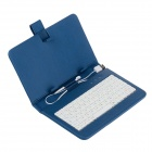 "Universal Micro USB Wired 80-Key Keyboard PU Leather Case Stand w/ Stylus for 7"" Tablet PC - Blue"