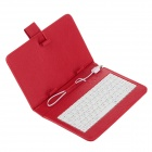 "Universal Micro USB Wired 80-Key Keyboard PU Leather Case Stand w/ Stylus for 7"" Tablet PC - Red"