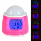 "1008B 2.2"" LCD Digital Clock w/ RGB Starry LED Light & Music - Pink + White (3 x AAA)"