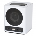 KR-5100 Portable Wooden Touch LED Media Player Speaker w/ TF / USB / FM - Black + White