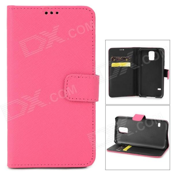 Cross Pattern Protective Flip-open PU Leather Case w/ Card Slot for Samsung Galaxy S5 - Deep Pink protective pu leather case w card slot for samsung galaxy tab3 p3200 deep pink