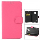 Cross Pattern Protective Flip-open PU Leather Case w/ Card Slot for Samsung Galaxy S5 - Deep Pink