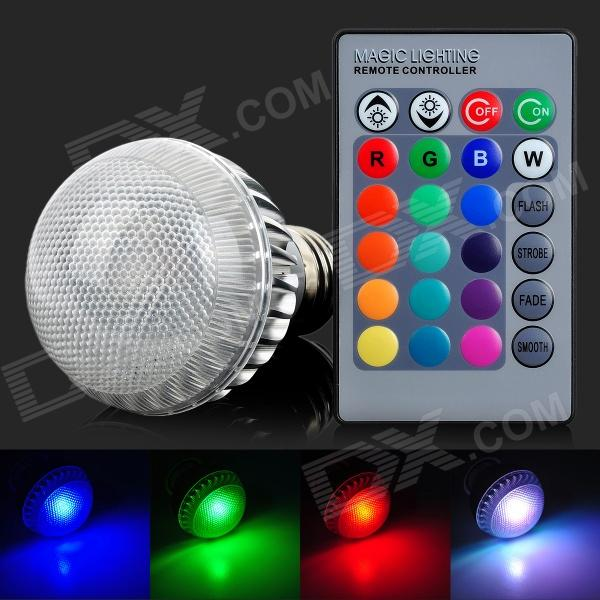 ShengDaGuang E27 5W 200LM RGB Light Bulb - White Silver Grey (AC 85~265V) jr led e27 10w 500lm led rgb light bulb w remote control white silver ac 85 265v