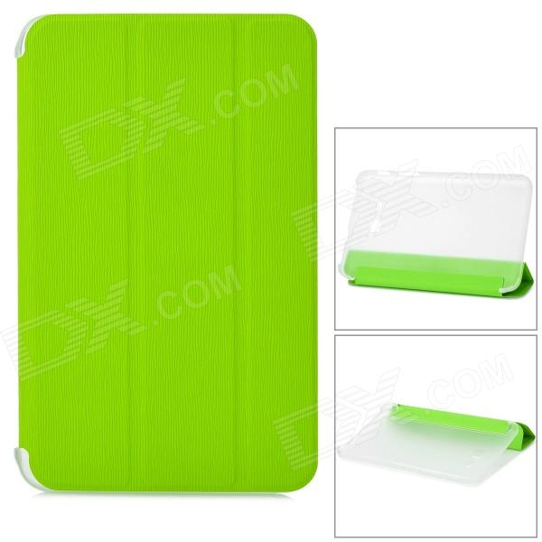 Stylish Flip-open PU + Plastic Case w/ Holder for Samsung Galaxy Tab 3 Lite T110 - Green