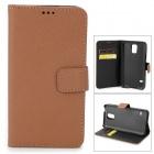 Cross Pattern Protective PU Leather Case for Samsung Galaxy S5 - Brown