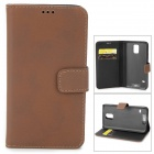 Protective PU Leather Flip-open Case w/ Card Slot / Holder for Samsung Galaxy S5 - Dark Brown