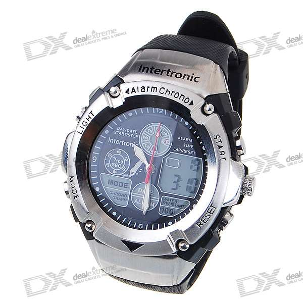 Green Light Digital Sports Quartz Watch with Weekday Display/Alarm Clock (Black) hoska hd030b children quartz digital watch
