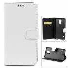 Cross Pattern Protective PU Leather Case w/ Stand for Samsung Galaxy S5 - White