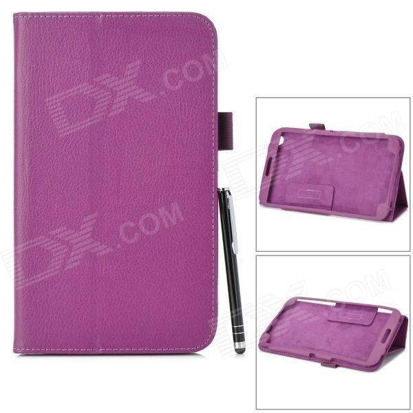 Protective PU Leather Case w/ Stylus Pen for Samsung Galaxy Tab 3 T310 / T311 - Purple protective pu leather case w stylus pen for samsung tab 3 7 0 t210 t211 p3200 p3210 orange