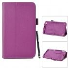 Protective PU Leather Case w/ Stylus Pen for Samsung Galaxy Tab 3 T310 / T311 - Purple