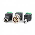 BNC Connector + Male / Female Connector for CCTV Camera - Black (3PCS)