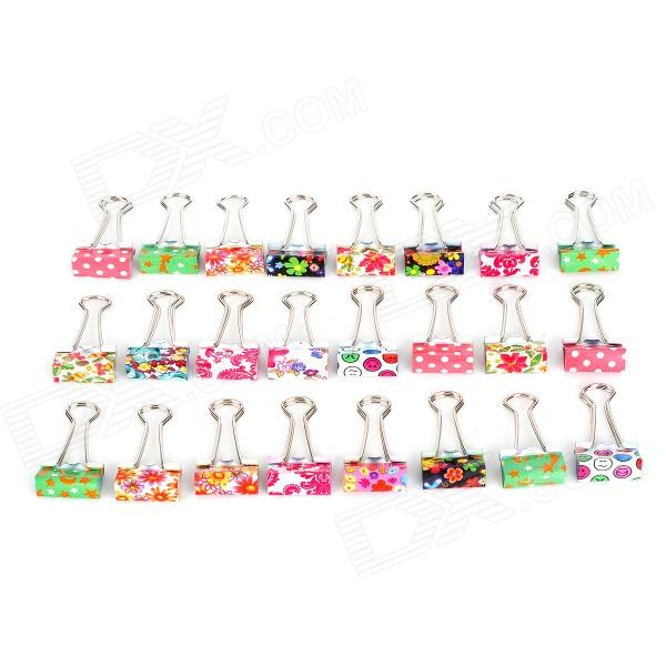 JIN SI HOU 8574 Cute Convenient Patterned Stainless Steel + Iron Binder Clip - Multicolored (24 PCS) 梁漱溟传