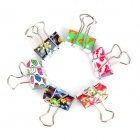 JIN SI HOU 8574 Cute Convenient Patterned Stainless Steel + Iron Binder Clip - Multicolored (24 PCS)