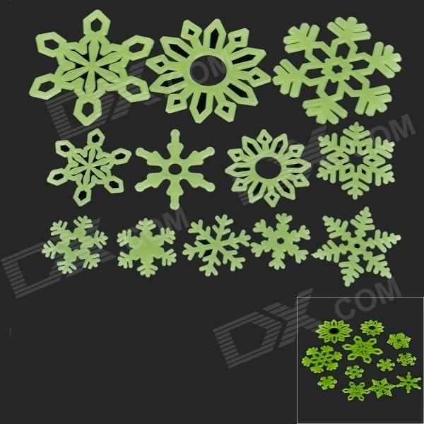 Christmas Snowflake DIY Decoration PVC Noctilucent Wall Sticker (12 PCS) 1 x golden slim decoration 8 mm x 7 m kawaii washi tape children diy diary decoration masking tape stationery scrapbooking tools