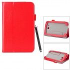 Stylish Flip-open PU Case w/ Holder + Stylus for ASUS VivoTab Note 8 / M80TA - Red