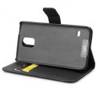 IKKI Protective PU Leather Flip-open Case w/ Stand / Card Slot for Samsung Galaxy S5 - Black