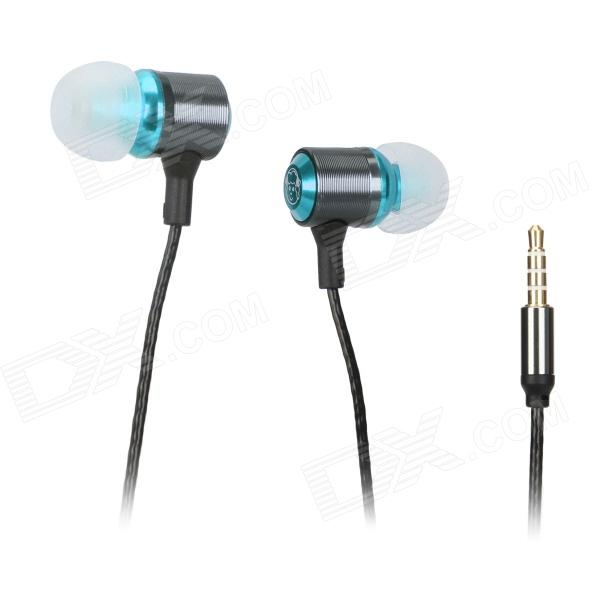Universal 3.5mm In-ear Earphones w/ Microphone + Volume Adjustment - Black + Blue (3.5mm Plug)