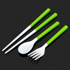 Creative Portable 3-in-1 Chopsticks Spoon Fork Set - Green + White