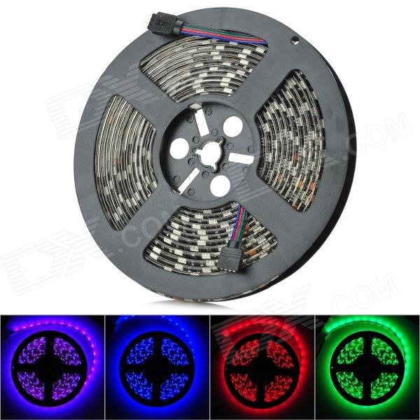 Waterproof 72W 3800lm 300-SMD 5050 LED RGB Light Flexible Light Strip - Black (5m / DC 12V) zdm waterproof 72w 200lm 470nm 300 smd 5050 led blue light strip white grey dc 12v 5m