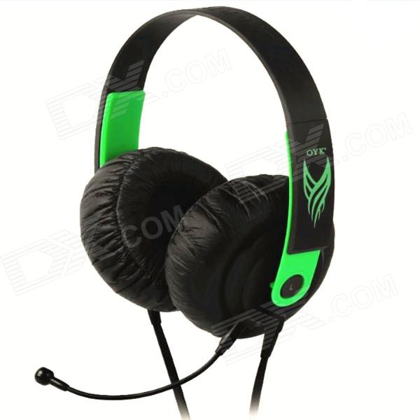 OYK Wired Double-Side Headband Stereo Headphones w/ MIC for Gaming, PC - Green + Black (3.5mm Plug) kotion each g2000 gaming headset pc gamer headphones headphone for computer auriculares fone de ouvido with microphone led light