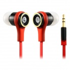 610 Flat Cable Universal In-Ear Earphones for Cellphone / Tablet PC - Red (3.5mm Plug / 120cm-Cable)