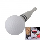 AYA-YY6 Creative Golf Ball Style Stainless Steel Wine Air Tight Stopper - White + Sliver