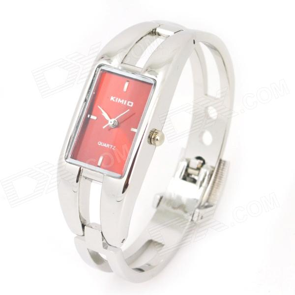 KIMIO Stylish Bracelet Style Women's Quartz Analog Wrist Watch - Silver + Red (1 x LR626) stylish bracelet band quartz wrist watch golden silver 1 x 377