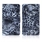ENKAY Leopard Print Protective PU Leather Case with Card Slot for Samsung Note III N9000 - Black