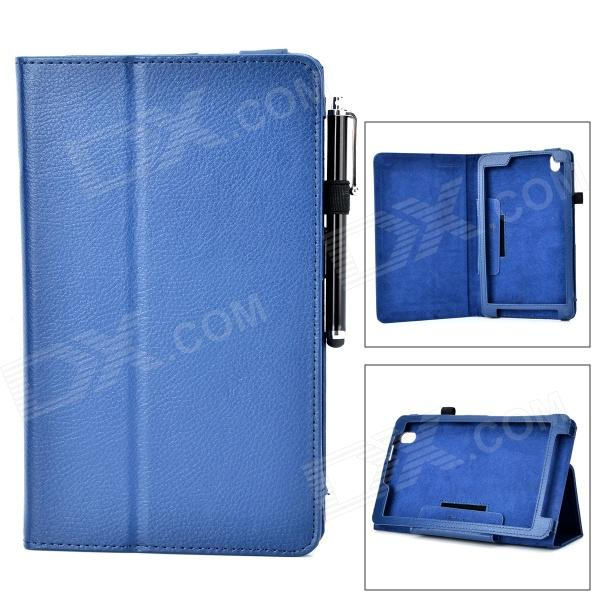 Protective Flip-open PU Case w/ Holder + Stylus for Samsung Galaxy Tab Pro 8.4 T320 - Blue protective pu leather flip open stand case w stylus for samsung galaxy tab pro 8 4 t320 white