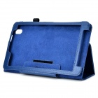 Protective Flip-open PU Case w/ Holder + Stylus for Samsung Galaxy Tab Pro 8.4 T320 - Blue
