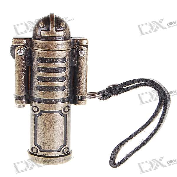Trendy Robot Shaped Oil Lighter with Leather Strap